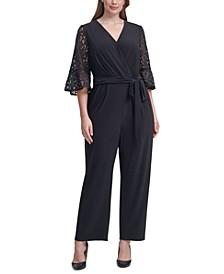 Plus Size Lace-Sleeve Jumpsuit