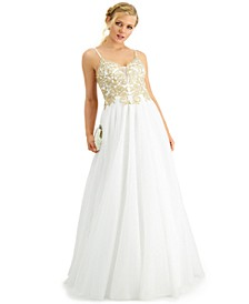 Juniors' Embellished Open Back Gown, Created for Macy's