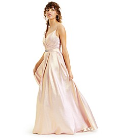 Juniors' Metallic Embellished-Waist Ball Gown, Created for Macy's