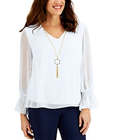 Petite Smocked-Sleeve Necklace Top, Created for Macy's