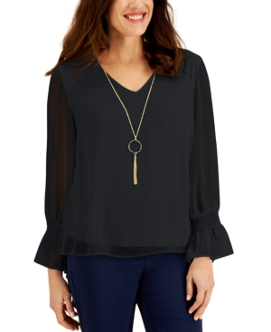 Jm Collection SMOCKED-SLEEVE NECKLACE TOP, CREATED FOR MACY'S