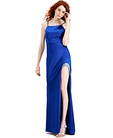 Embellished High-Slit Stretch Satin Gown, Created for Macy's