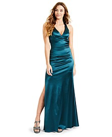 Juniors' Strappy-Back Satin Gown