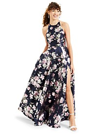 Juniors' Floral-Print Lace-Back Gown