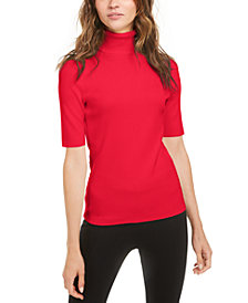 Anne Klein Elbow-Sleeve Turtleneck Top