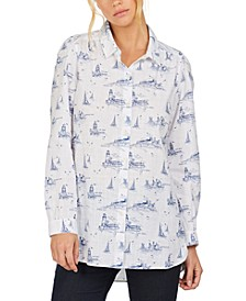 Seagrass Nautical-Print Cotton Shirt