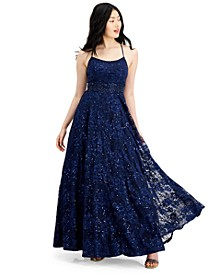 Juniors' Embellished Lace Gown, Created for Macy's