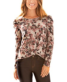 Juniors' Printed Puff-Sleeve Top