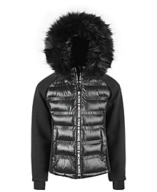 Big Girls' Hybrid Puffer Jacket With Logo Taping and Faux-Fur Hood