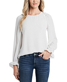 Ruffled Dot-Print Drapey Blouse