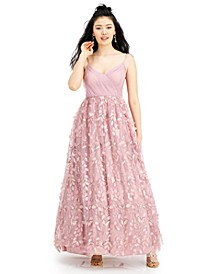 RTV-Juniors' Sequin Petal-Skirt Gown
