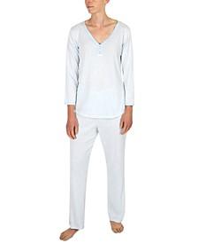 Striped Henley Top & Pants Pajama Set