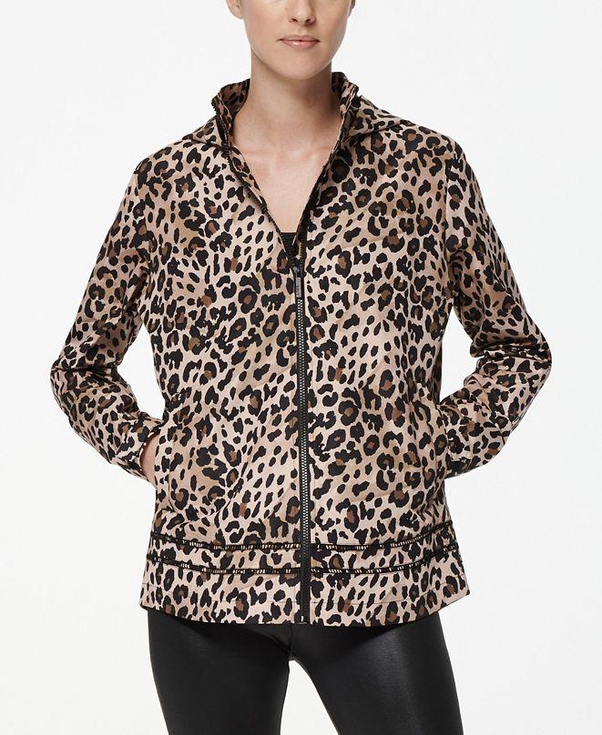 Marc New York Women's Leopard Windbreaker Raincoat