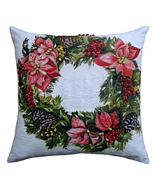 "20"" L x 20"" W Christmas Throw Pillow Wreath"