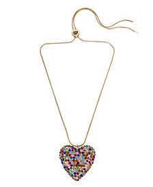 Pave Heart Pendant Slider Necklace