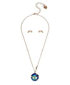 Celestial Planet Pendant Necklace Star Stud Earrings Set