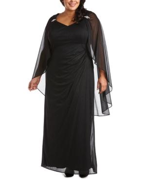 1930s Plus Size Dresses | Art Deco Plus Size Dresses R  M Richards Plus Size Empire-Waist Cape Gown $139.00 AT vintagedancer.com