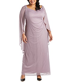 Plus Size Empire-Waist Cape Gown