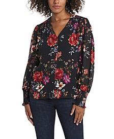 Women's Magnolia Noir Floral Top