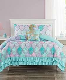 Dasha Mermaid 4 Piece Comforter Set, Full