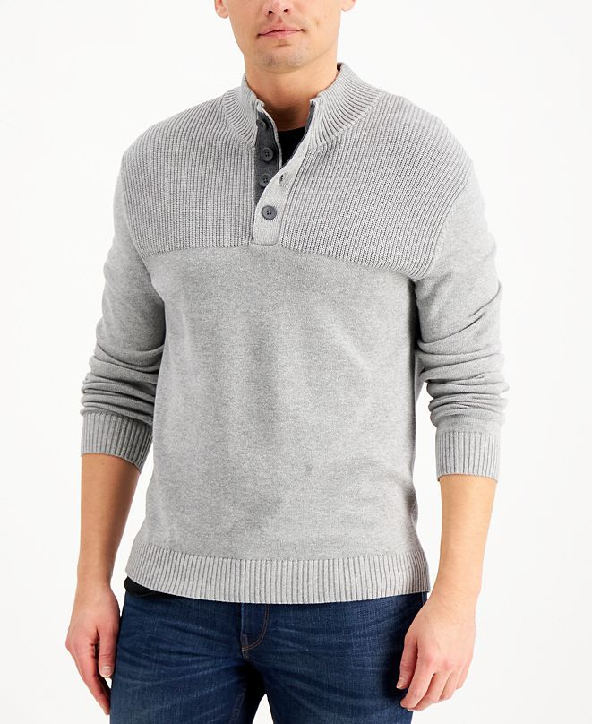 Club Room Men's Ribbed Four-Button Sweater, Created for Macy's