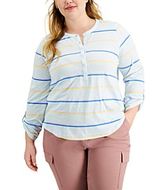 Plus Size Cotton Striped Roll-Tab Top, Created for Macy's