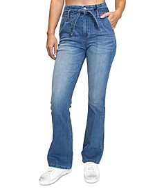 Juniors' Paperbag Tie-Waist Flare-Leg Jeans