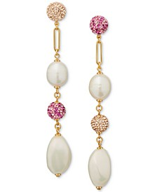 Gold-Tone Pavé Fireball, Imitation & Freshwater Pearl (12x10mm) Linear Drop Earrings