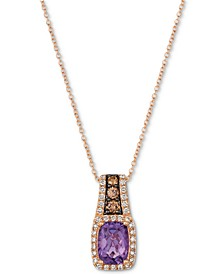 "Amethyst (1-1/4 ct. t.w.) & Diamond (3/8 ct. t.w.) 18"" Pendant Necklace in 14k Rose Gold"