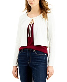 Juniors' Tie-Front Pointelle-Knit Cardigan