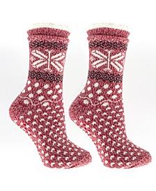 Women's Non-Skid Double Layer Warm Soft and Fuzzy Slipper Socks, 3 Piece