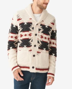 Men's Vintage Sweaters History Lucky Brand Mens Sherpa-Lined Legacy Shawl Collar Cardigan Sweater $169.00 AT vintagedancer.com
