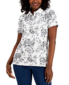 Toile Floral-Print Polo Top, Created for Macy's