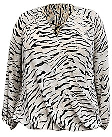 INC Plus Size Printed Surplice Top, Created for Macy's