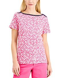 Petite Contrast Neckline Top, Created for Macy's