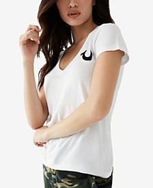 Cotton Logo V-Neck T-Shirt