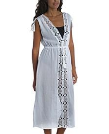 Embroidered Island Fare Midi Cover-Up Dress