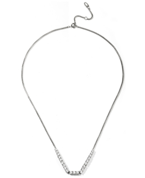 Silver-Plated Cubic Zirconia Statement Necklace