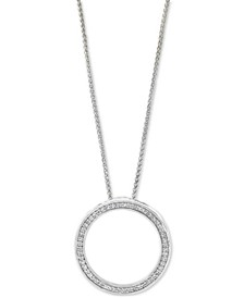 """EFFY® Diamond Circle 18"""" Pendant Necklace (1/6 ct. t.w.) in Sterling Silver"""