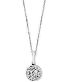 """EFFY® Diamond Pavé Cluster 18"""" Pendant Necklace (1/10 ct. t.w.) in Sterling Silver"""