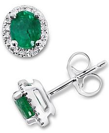Emerald (5/8 ct. t.w.) & Diamond (1/10 ct. t.w.) Oval Stud Earrings