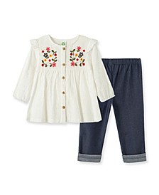 Baby Girls Embroidered Woven Tunic Set