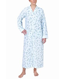 Quilted Printed Long Zipper Robe