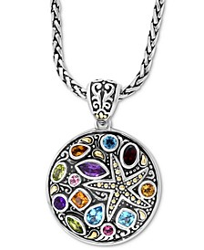 "EFFY® Multi-Gemstone Starfish Disc 18"" Pendant Necklace (4-1/5 ct. t.w.) in Sterling Silver & 18k Gold-Plate"