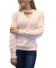 Juniors' Cutout Chenille Sweater