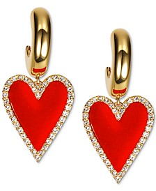 INC Gold-Tone Pavé & Velvet Heart Charm Hoop Earrings, Created for Macy's
