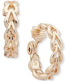 """Gold-Tone Link Medium Hoop Clip-On Earrings, 1"""""""