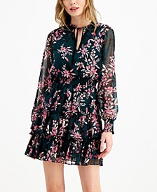 Floral-Print Mini Tie-Neck Dress, Created for Macy's