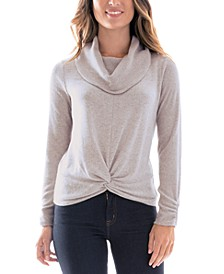 Juniors' Cowlneck Twist-Hem Sweater