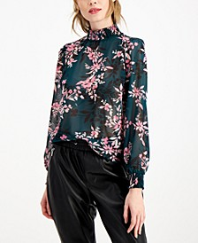 Floral-Print Mock-Neck Blouse, Created for Macy's